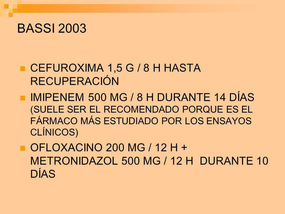 BASSI 2003 CEFUROXIMA 1,5 G / 8 H HASTA RECUPERACIÓN IMIPENEM 500 MG / 8 H DURANTE 14 DÍAS (SUELE SER EL RECOMENDADO PORQUE ES EL FÁRMACO MÁS ESTUDIAD