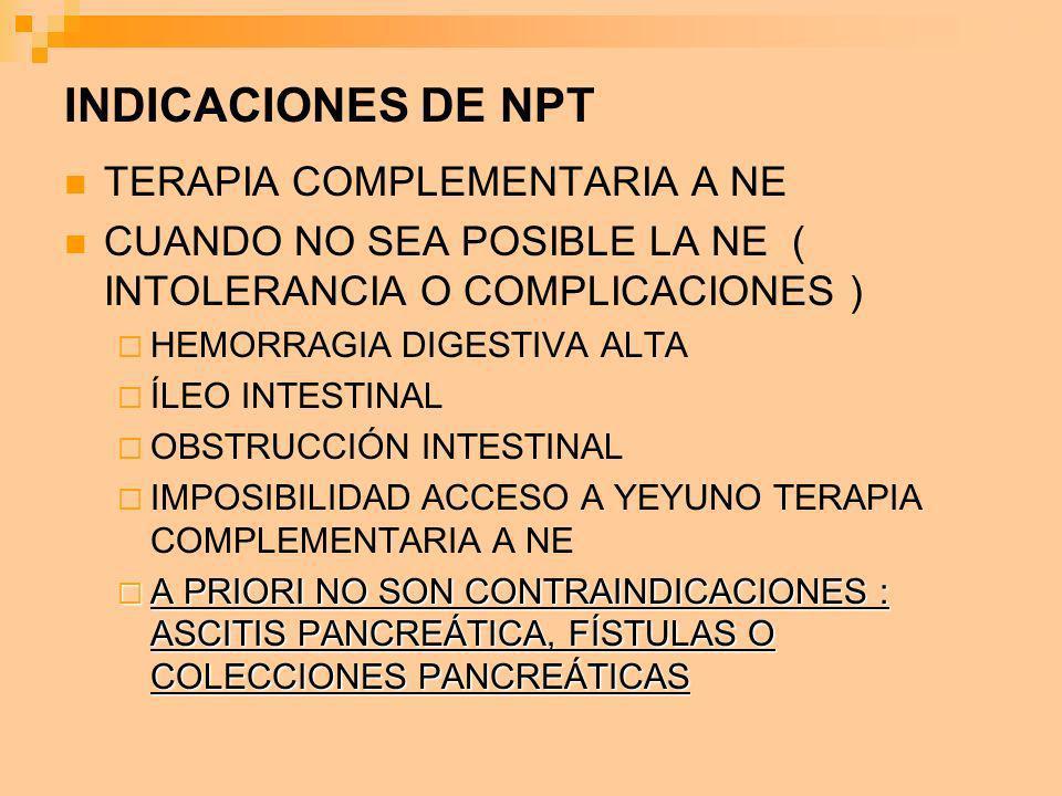 INDICACIONES DE NPT TERAPIA COMPLEMENTARIA A NE CUANDO NO SEA POSIBLE LA NE ( INTOLERANCIA O COMPLICACIONES ) HEMORRAGIA DIGESTIVA ALTA ÍLEO INTESTINA