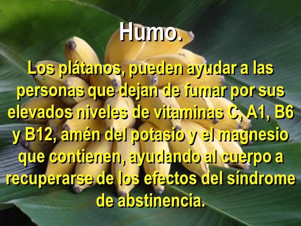 Humo. Los plátanos, pueden ayudar a las personas que dejan de fumar por sus elevados niveles de vitaminas C, A1, B6 y B12, amén del potasio y el magne