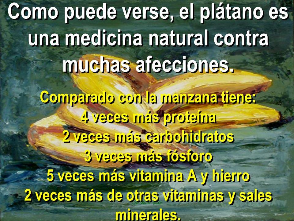 Como puede verse, el plátano es una medicina natural contra muchas afecciones. Comparado con la manzana tiene: 4 veces más proteína 2 veces más carboh