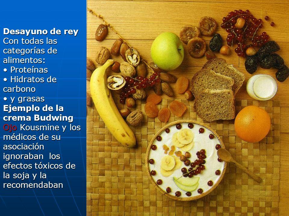 103 Desayuno de rey Con todas las categorías de alimentos: Proteínas Proteínas Hidratos de carbono Hidratos de carbono y grasas y grasas Ejemplo de la