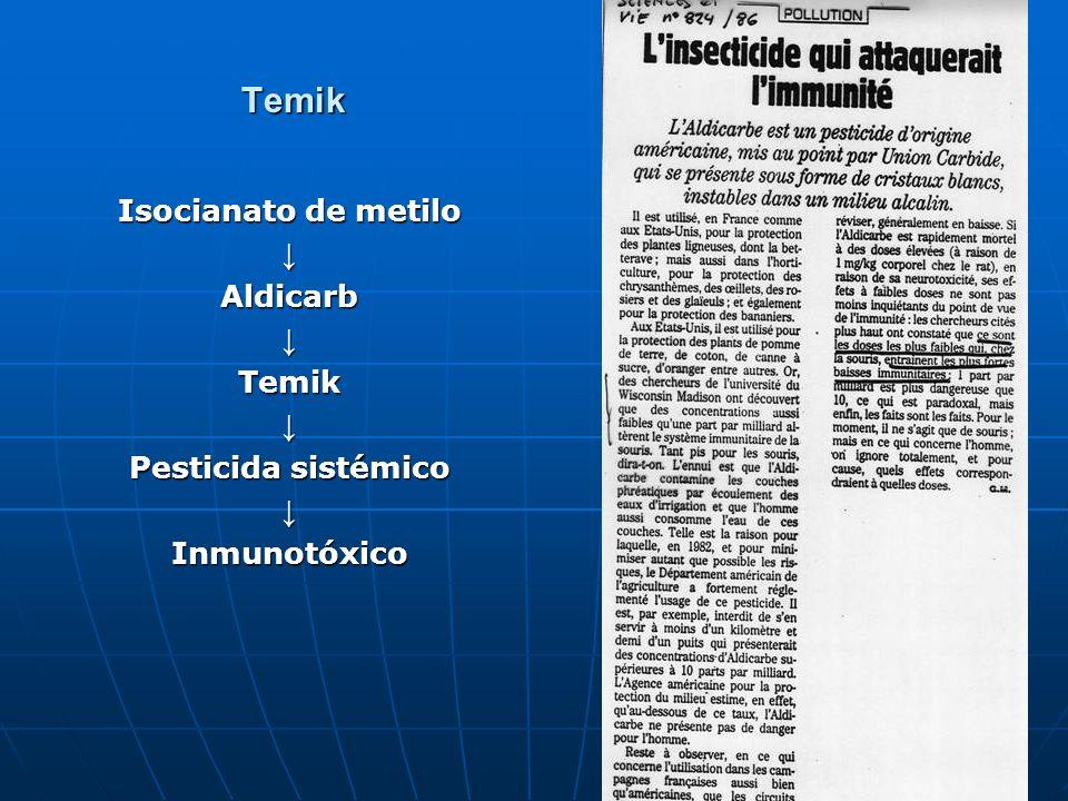 13 Temik Isocianato de metilo AldicarbTemik Pesticida sistémico Inmunotóxico