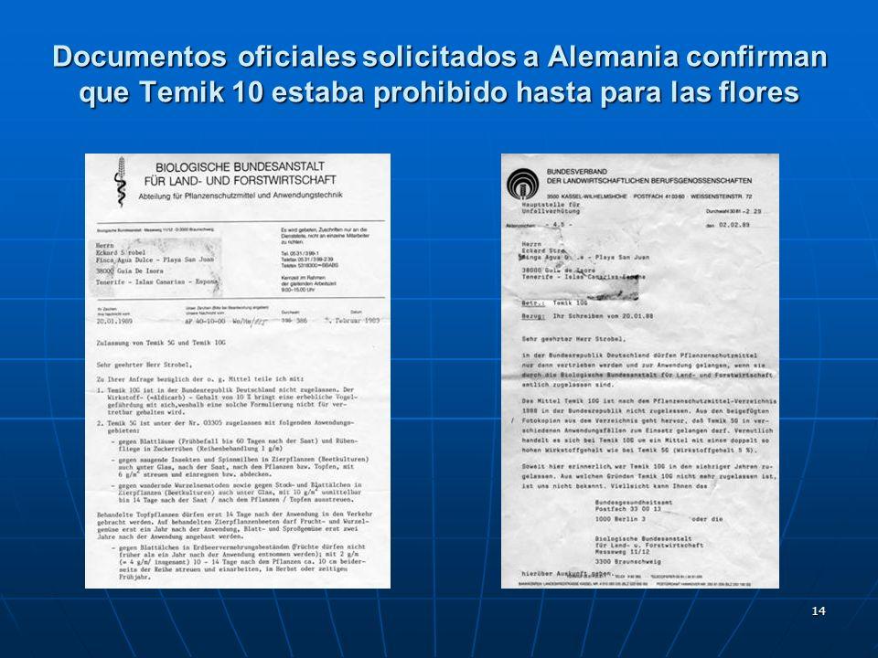 14 Documentos oficiales solicitados a Alemania confirman que Temik 10 estaba prohibido hasta para las flores