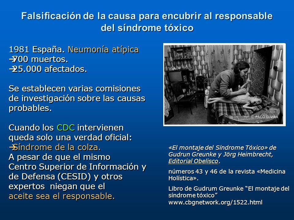 1981 España. Neumonía atípica 700 muertos. 700 muertos. 25.000 afectados. 25.000 afectados. Se establecen varias comisiones de investigación sobre las