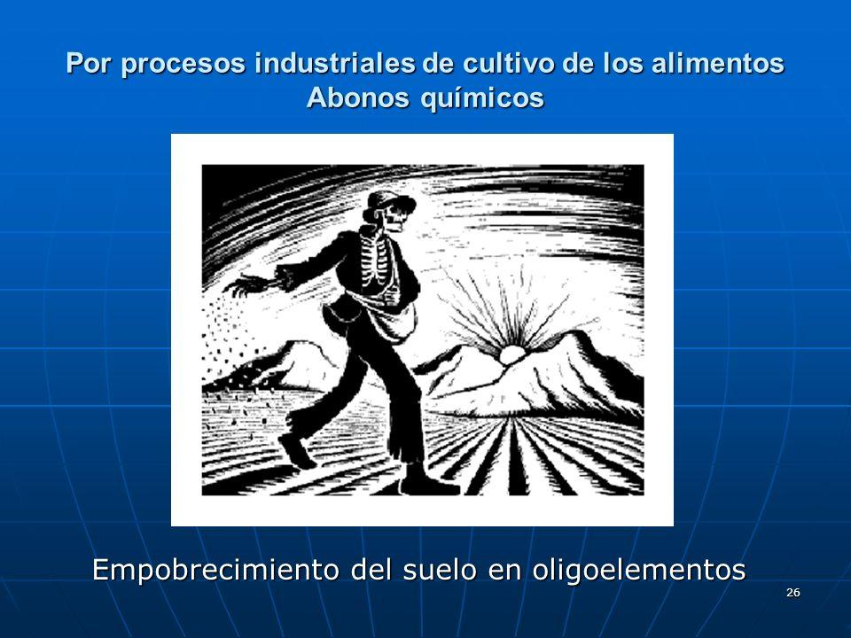 26 Por procesos industriales de cultivo de los alimentos Abonos químicos Empobrecimiento del suelo en oligoelementos