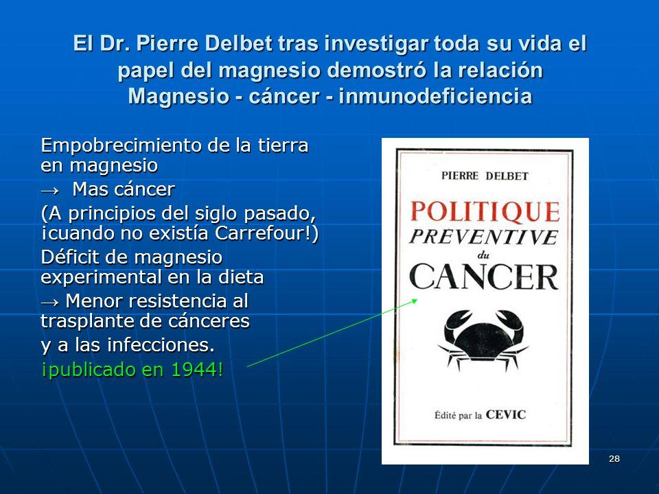 28 El Dr. Pierre Delbet tras investigar toda su vida el papel del magnesio demostró la relación Magnesio - cáncer - inmunodeficiencia Empobrecimiento