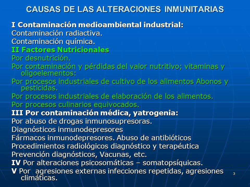 3 CAUSAS DE LAS ALTERACIONES INMUNITARIAS I Contaminación medioambiental industrial: Contaminación radiactiva. Contaminación química. II Factores Nutr