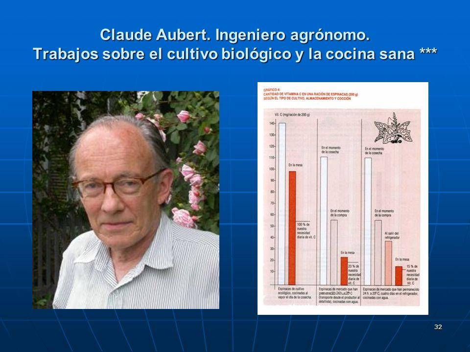 32 Claude Aubert. Ingeniero agrónomo. Trabajos sobre el cultivo biológico y la cocina sana ***
