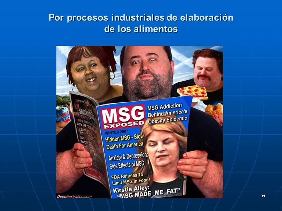 34 Por procesos industriales de elaboración de los alimentos