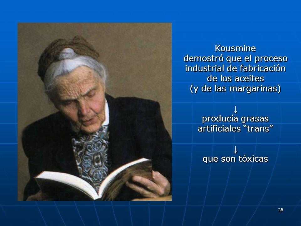38 Kousmine demostró que el proceso industrial de fabricación de los aceites (y de las margarinas) producía grasas artificiales trans que son tóxicas