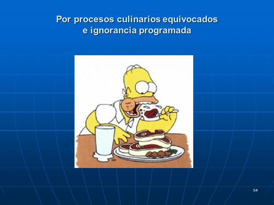 54 Por procesos culinarios equivocados e ignorancia programada