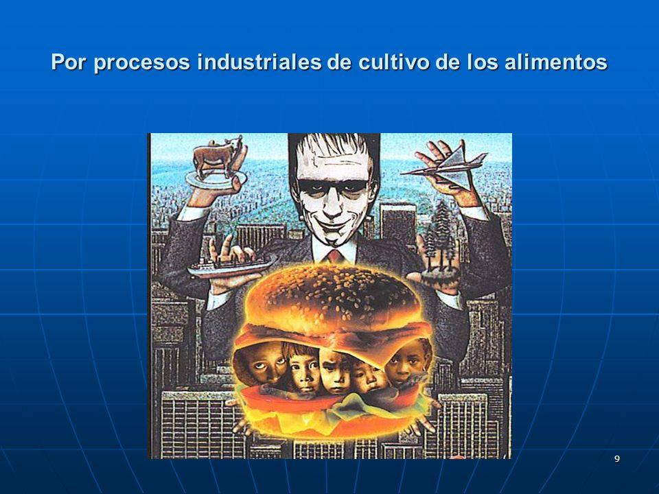 9 Por procesos industriales de cultivo de los alimentos