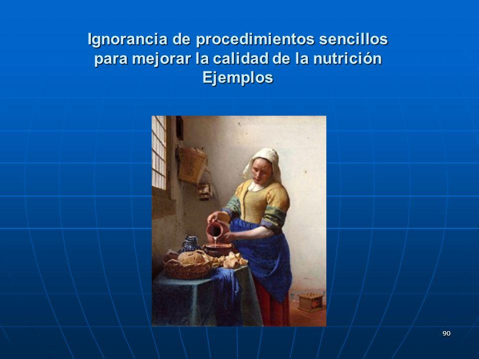 90 Ignorancia de procedimientos sencillos para mejorar la calidad de la nutrición Ejemplos