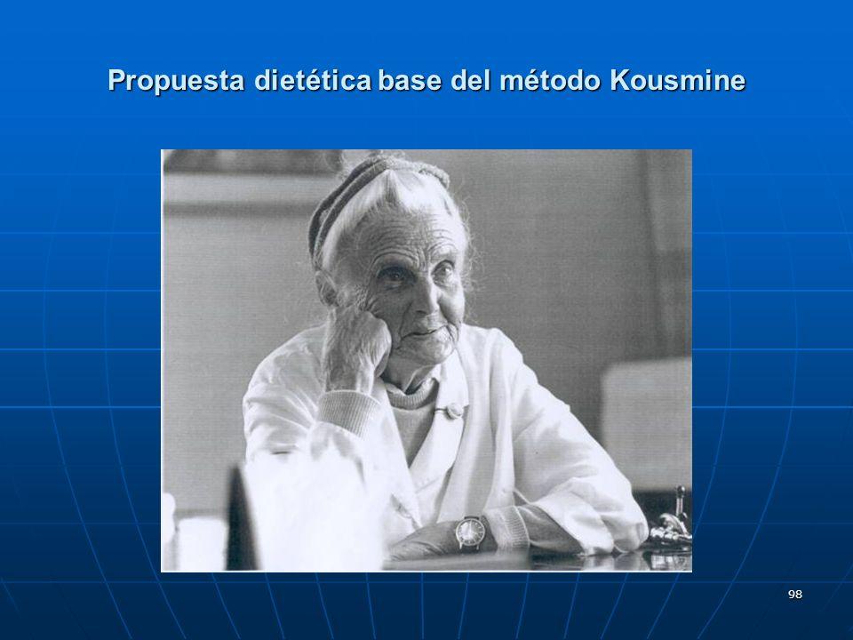 98 Propuesta dietética base del método Kousmine
