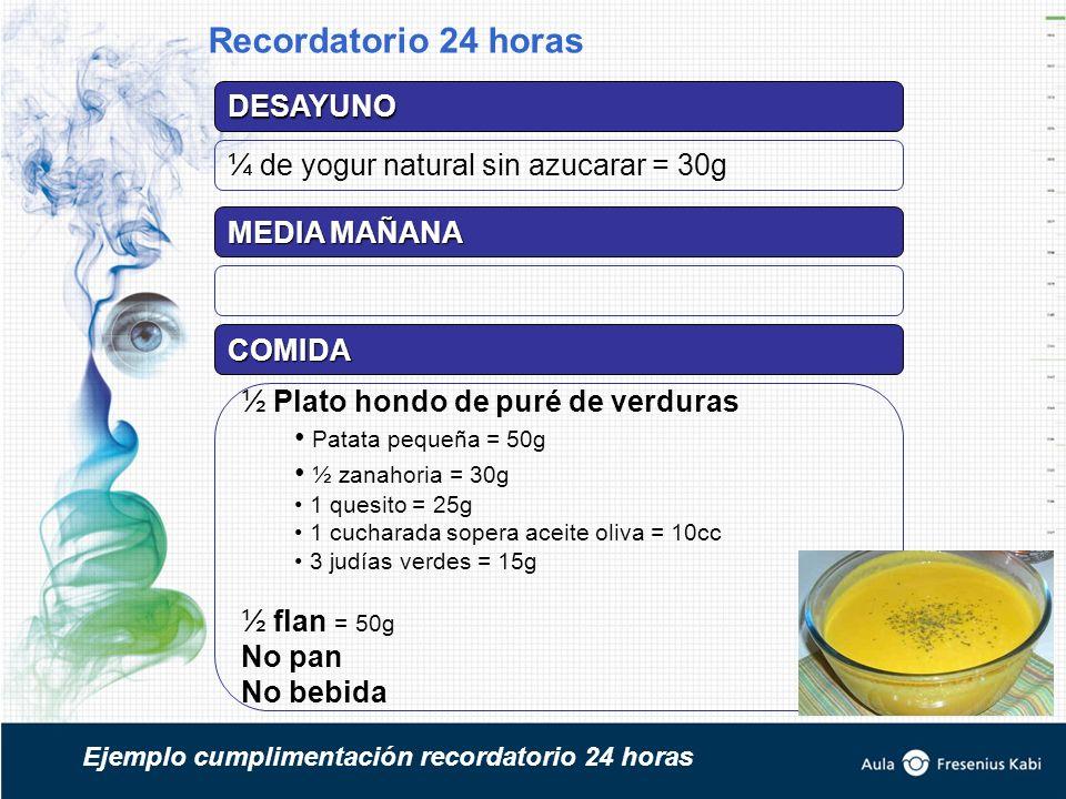 DESAYUNO ¼ de yogur natural sin azucarar = 30g MEDIA MAÑANA COMIDA ½ Plato hondo de puré de verduras Patata pequeña = 50g ½ zanahoria = 30g 1 quesito