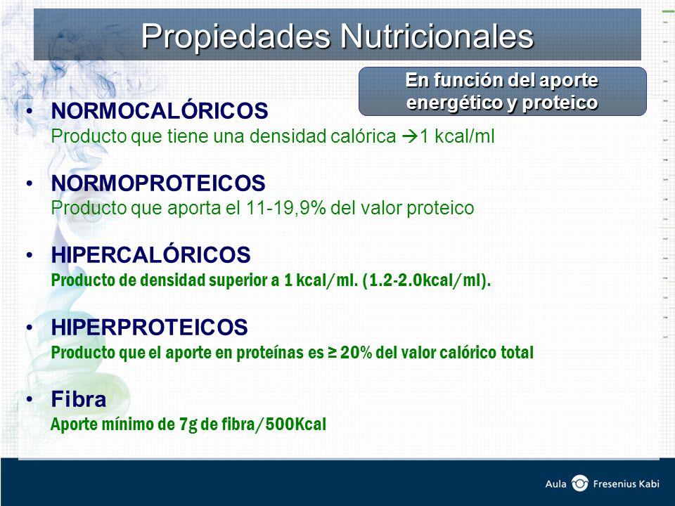 Propiedades Nutricionales NORMOCALÓRICOS Producto que tiene una densidad calórica 1 kcal/ml NORMOPROTEICOS Producto que aporta el 11-19,9% del valor proteico HIPERCALÓRICOS Producto de densidad superior a 1 kcal/ml.