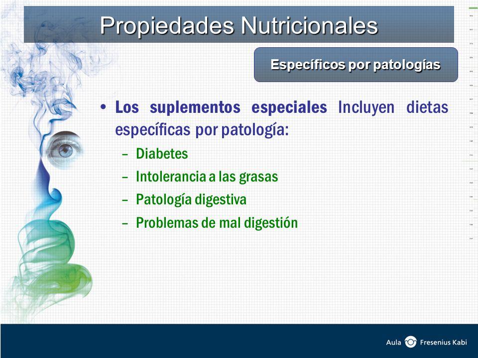 Los suplementos especiales Incluyen dietas específicas por patología: –Diabetes –Intolerancia a las grasas –Patología digestiva –Problemas de mal digestión Propiedades Nutricionales Específicos por patologías