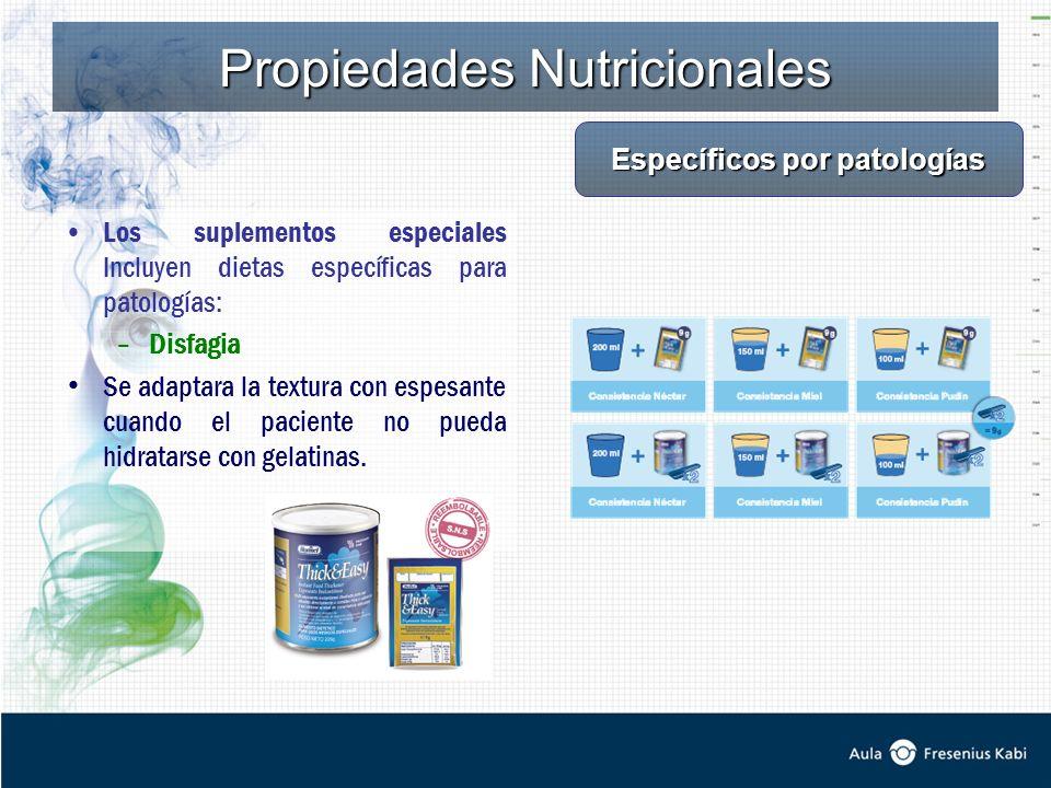 Propiedades Nutricionales Los suplementos especiales Incluyen dietas específicas para patologías: –Disfagia Se adaptara la textura con espesante cuando el paciente no pueda hidratarse con gelatinas.