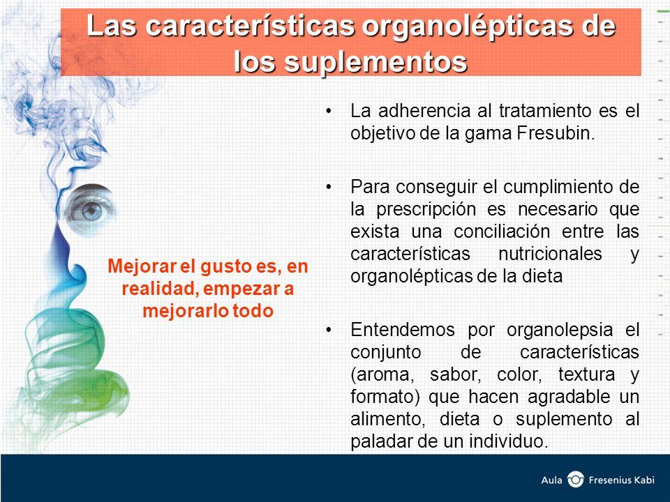 Las características organolépticas de los suplementos La adherencia al tratamiento es el objetivo de la gama Fresubin. Para conseguir el cumplimiento