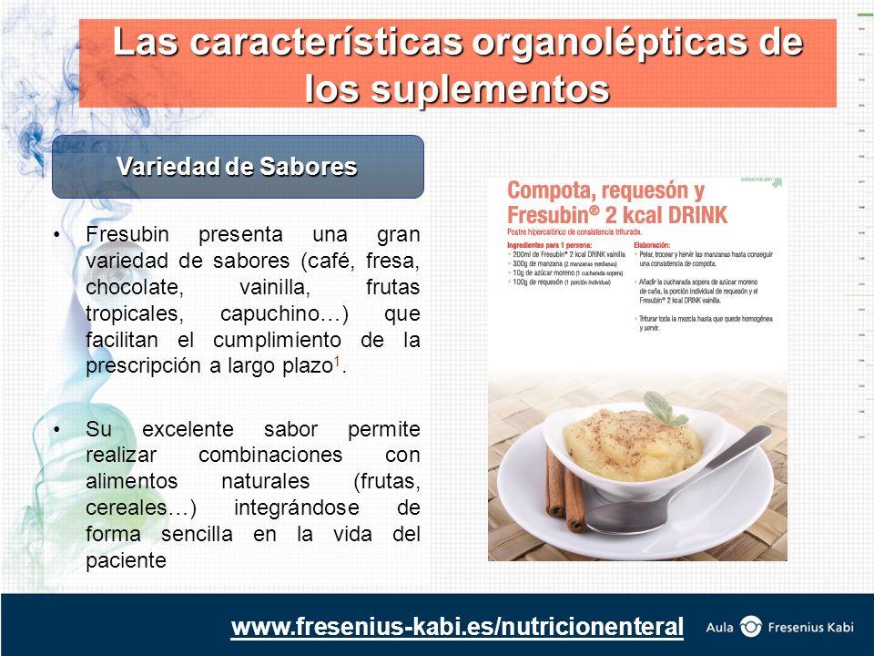 Fresubin presenta una gran variedad de sabores (café, fresa, chocolate, vainilla, frutas tropicales, capuchino…) que facilitan el cumplimiento de la prescripción a largo plazo 1.