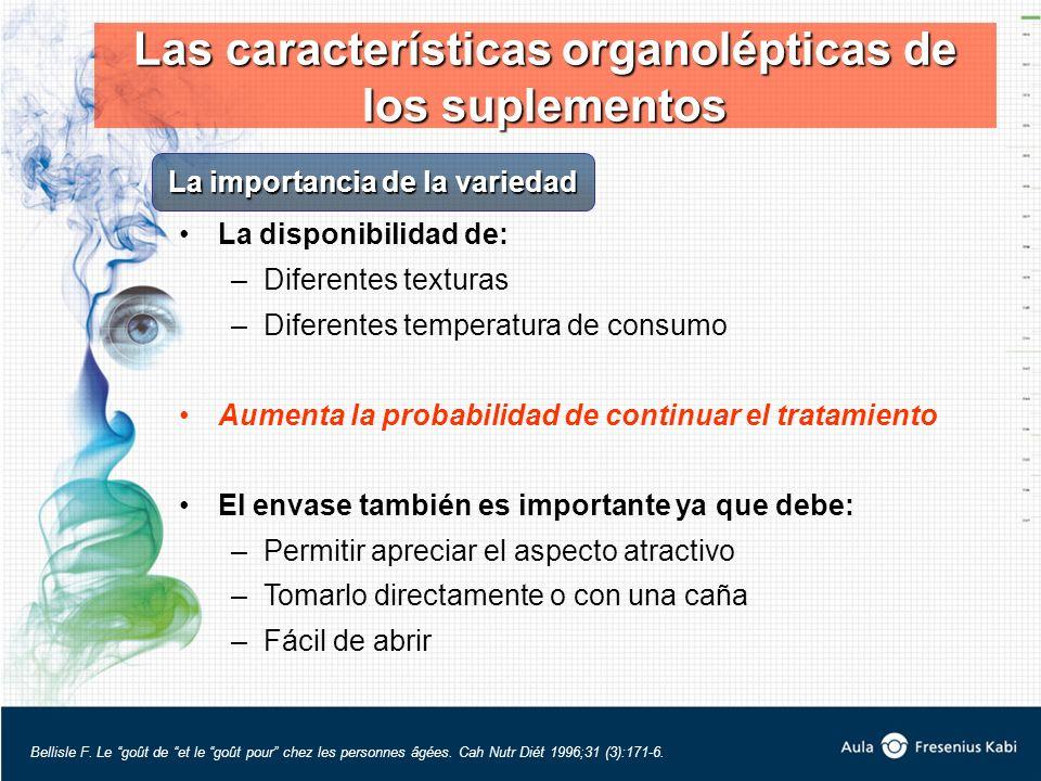 La disponibilidad de: –Diferentes texturas –Diferentes temperatura de consumo Aumenta la probabilidad de continuar el tratamiento El envase también es