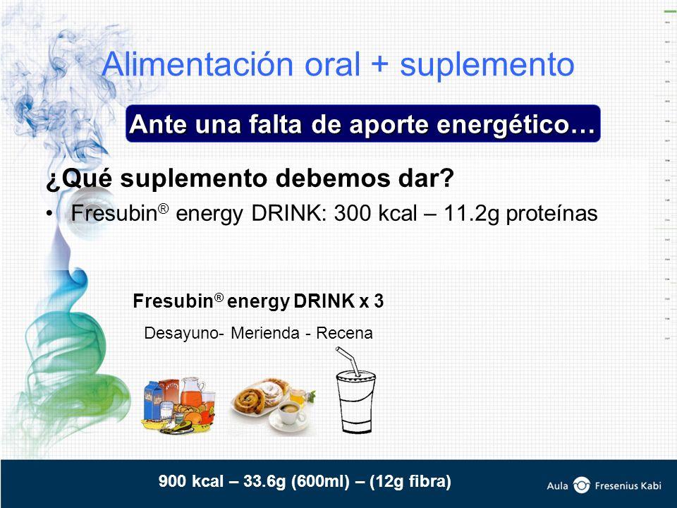 Alimentación oral + suplemento ¿Qué suplemento debemos dar? Fresubin ® energy DRINK: 300 kcal – 11.2g proteínas Ante una falta de aporte energético… F