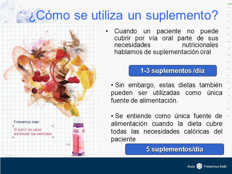 ¿Cómo se utiliza un suplemento? Cuando un paciente no puede cubrir por vía oral parte de sus necesidades nutricionales hablamos de suplementación oral