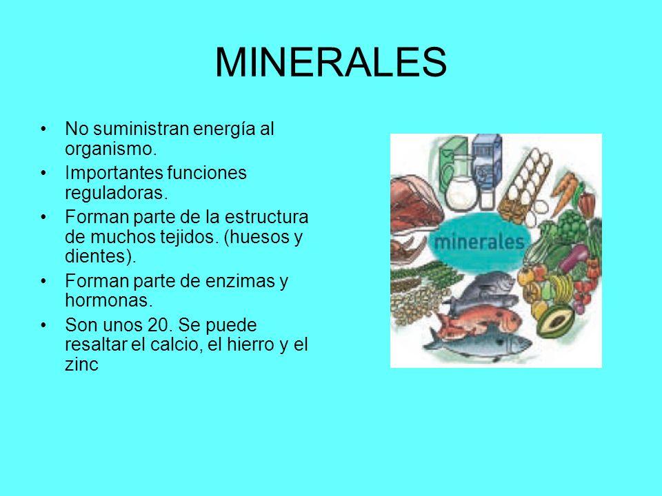 MINERALES No suministran energía al organismo. Importantes funciones reguladoras. Forman parte de la estructura de muchos tejidos. (huesos y dientes).