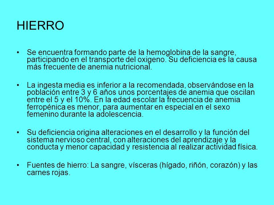 HIERRO Se encuentra formando parte de la hemoglobina de la sangre, participando en el transporte del oxigeno. Su deficiencia es la causa más frecuente