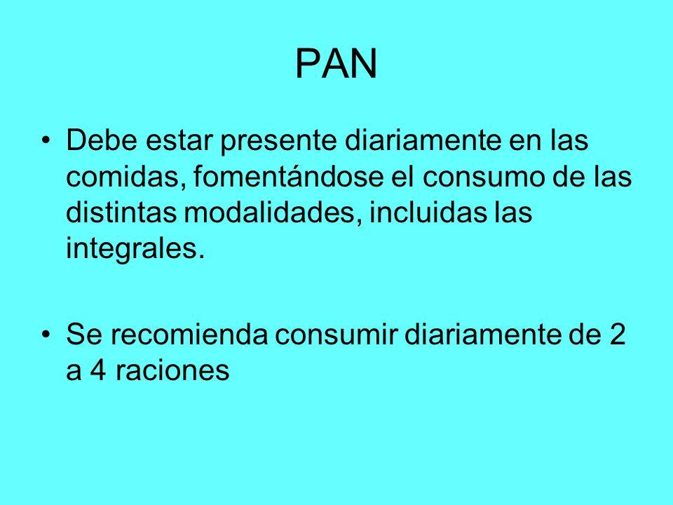 PAN Debe estar presente diariamente en las comidas, fomentándose el consumo de las distintas modalidades, incluidas las integrales. Se recomienda cons