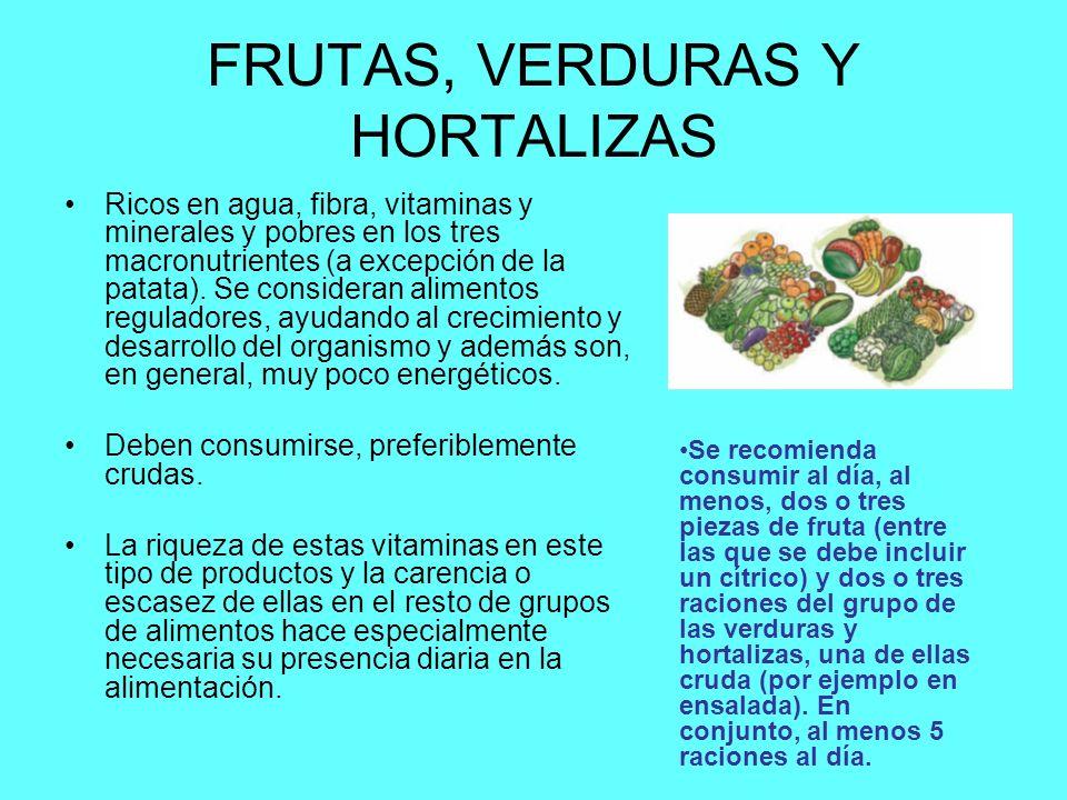 FRUTAS, VERDURAS Y HORTALIZAS Ricos en agua, fibra, vitaminas y minerales y pobres en los tres macronutrientes (a excepción de la patata).