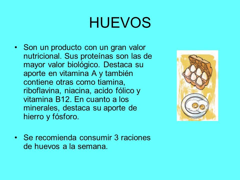 HUEVOS Son un producto con un gran valor nutricional. Sus proteínas son las de mayor valor biológico. Destaca su aporte en vitamina A y también contie