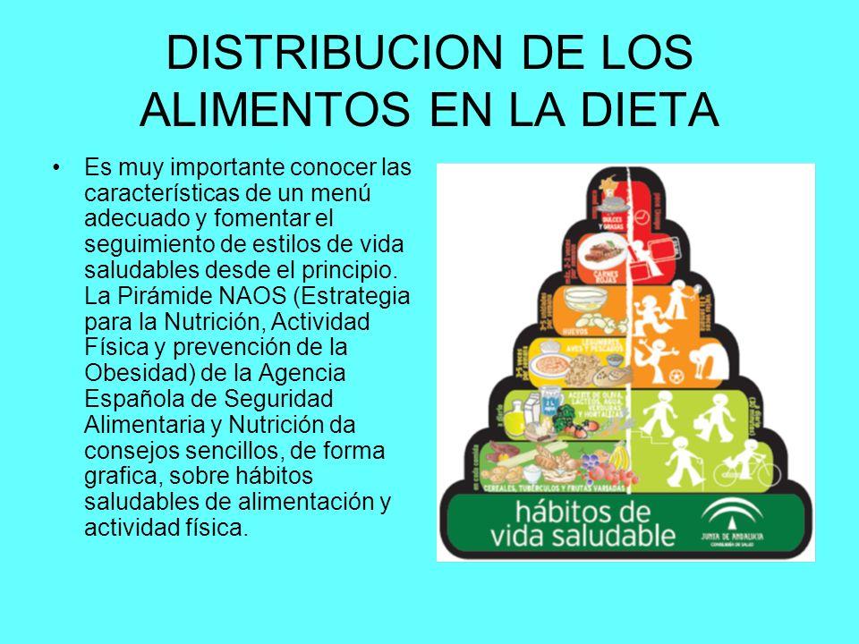 DISTRIBUCION DE LOS ALIMENTOS EN LA DIETA Es muy importante conocer las características de un menú adecuado y fomentar el seguimiento de estilos de vida saludables desde el principio.