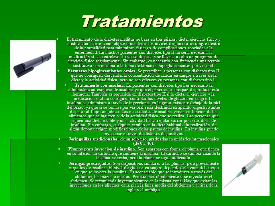 Tratamientos El tratamiento de la diabetes mellitus se basa en tres pilares: dieta, ejercicio físico y medicación.