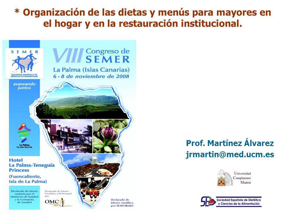 Prof. Martínez Álvarez jrmartin@med.ucm.es * Organización de las dietas y menús para mayores en el hogar y en la restauración institucional.