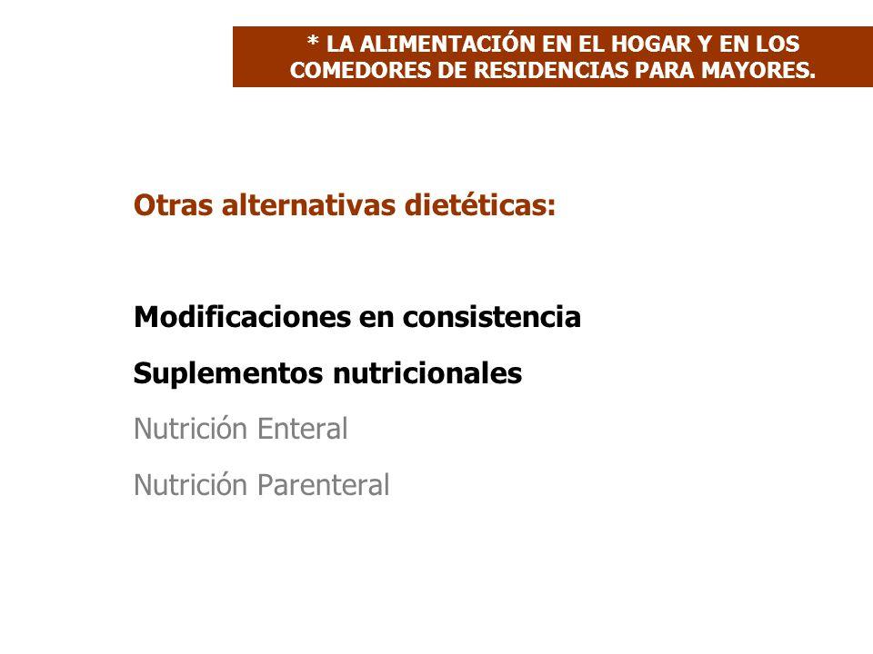 Otras alternativas dietéticas: Modificaciones en consistencia Suplementos nutricionales Nutrición Enteral Nutrición Parenteral * LA ALIMENTACIÓN EN EL HOGAR Y EN LOS COMEDORES DE RESIDENCIAS PARA MAYORES.