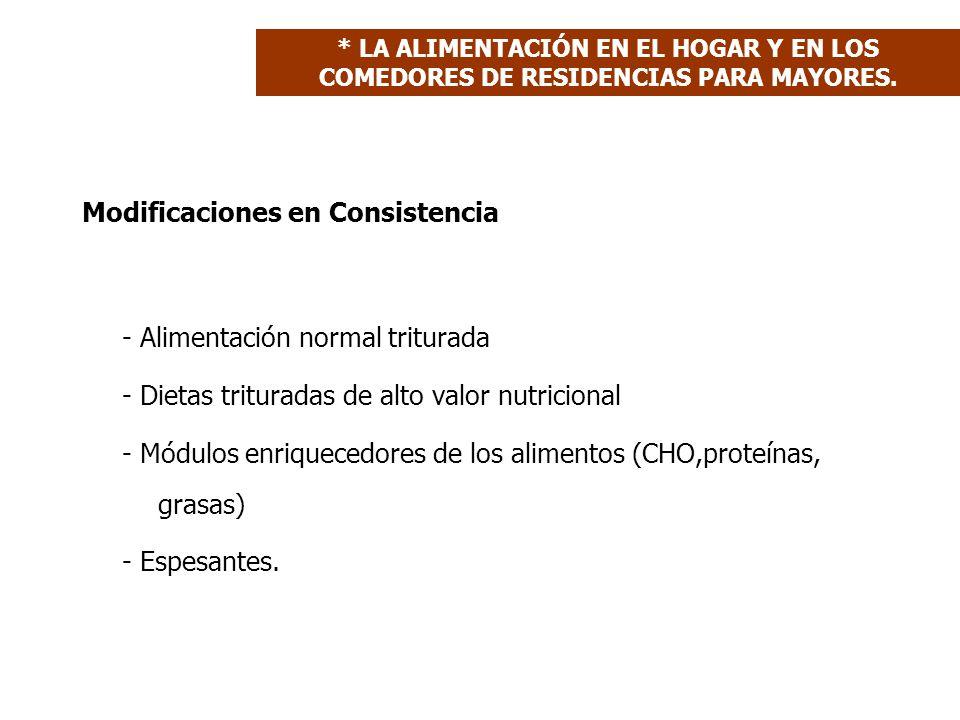 Modificaciones en Consistencia - Alimentación normal triturada - Dietas trituradas de alto valor nutricional - Módulos enriquecedores de los alimentos (CHO,proteínas, grasas) - Espesantes.