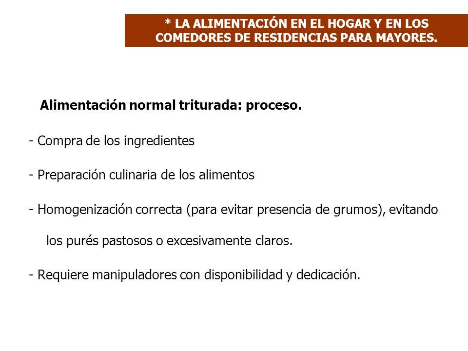 Alimentación normal triturada: proceso. - Compra de los ingredientes - Preparación culinaria de los alimentos - Homogenización correcta (para evitar p