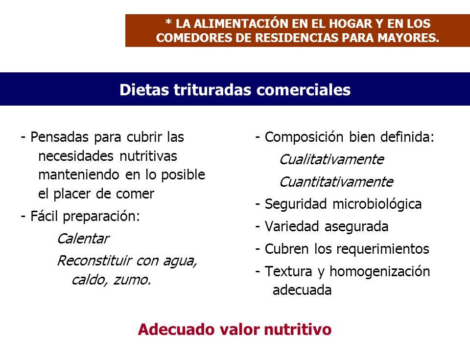 Dietas trituradas comerciales - Pensadas para cubrir las necesidades nutritivas manteniendo en lo posible el placer de comer - Fácil preparación: Calentar Reconstituir con agua, caldo, zumo.