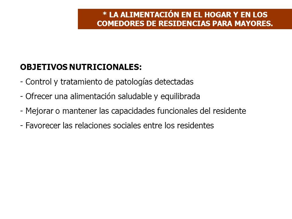 OBJETIVOS NUTRICIONALES: - Control y tratamiento de patologías detectadas - Ofrecer una alimentación saludable y equilibrada - Mejorar o mantener las