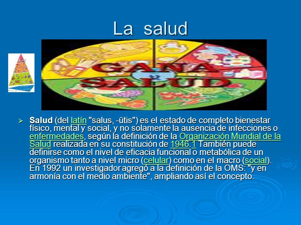 La salud Salud (del latín salus, -ūtis ) es el estado de completo bienestar físico, mental y social, y no solamente la ausencia de infecciones o enfermedades, según la definición de la Organización Mundial de la Salud realizada en su constitución de 1946.1 También puede definirse como el nivel de eficacia funcional o metabólica de un organismo tanto a nivel micro (celular) como en el macro (social).