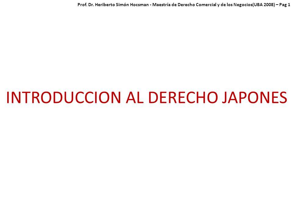 INTRODUCCION AL DERECHO JAPONES Prof.Dr.