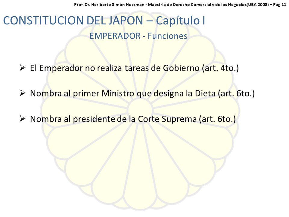 El Emperador no realiza tareas de Gobierno (art.