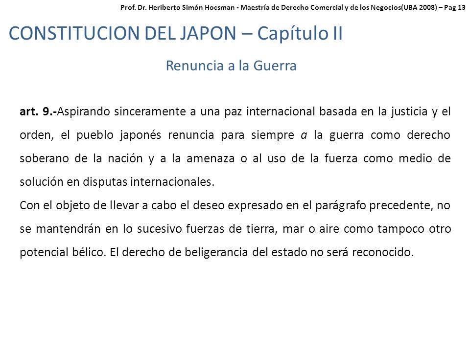 CONSTITUCION DEL JAPON – Capítulo II Renuncia a la Guerra art.
