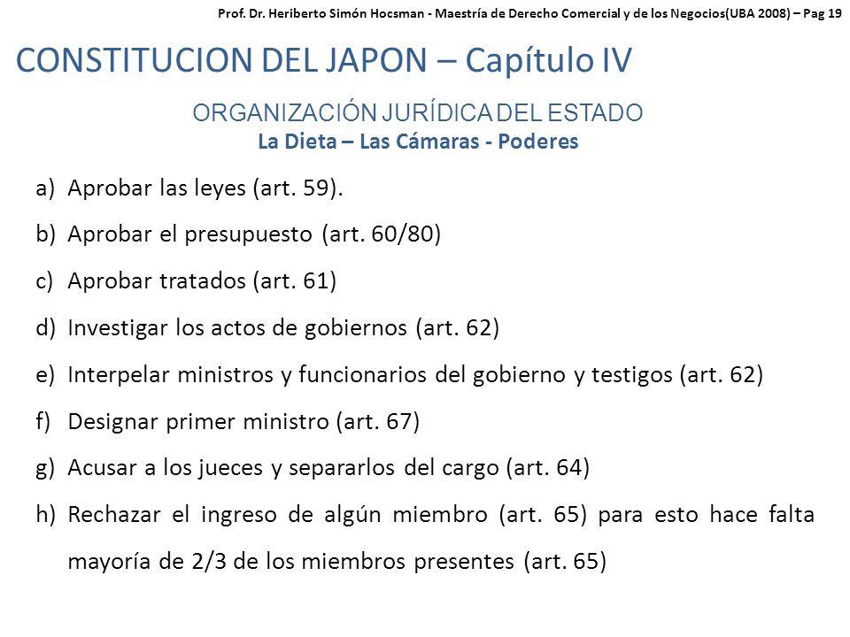 ORGANIZACIÓN JURÍDICA DEL ESTADO La Dieta – Las Cámaras - Poderes a)Aprobar las leyes (art.