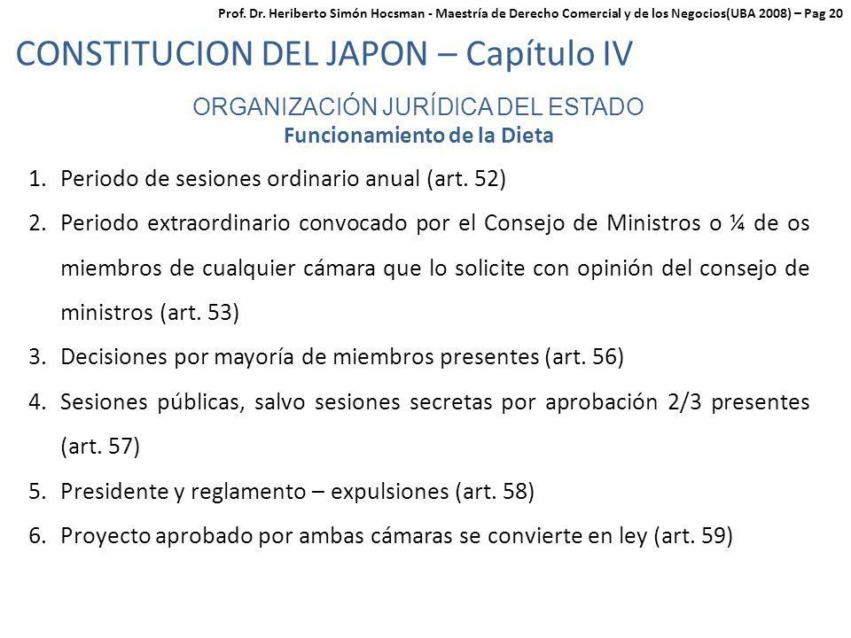ORGANIZACIÓN JURÍDICA DEL ESTADO Funcionamiento de la Dieta 1.Periodo de sesiones ordinario anual (art.