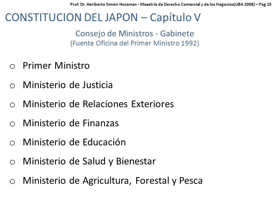 CONSTITUCION DEL JAPON – Capítulo V Consejo de Ministros - Gabinete (Fuente Oficina del Primer Ministro 1992) o Primer Ministro o Ministerio de Justicia o Ministerio de Relaciones Exteriores o Ministerio de Finanzas o Ministerio de Educación o Ministerio de Salud y Bienestar o Ministerio de Agricultura, Forestal y Pesca Prof.