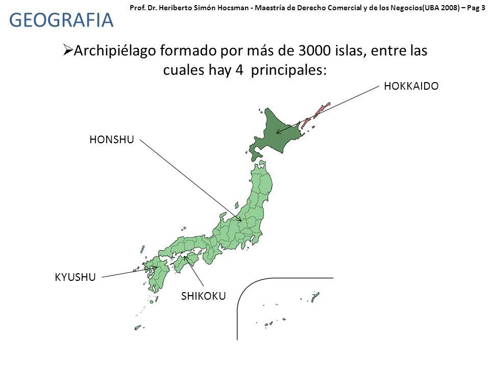 GEOGRAFIA Archipiélago formado por más de 3000 islas, entre las cuales hay 4 principales: HONSHU HOKKAIDO SHIKOKU KYUSHU Prof.