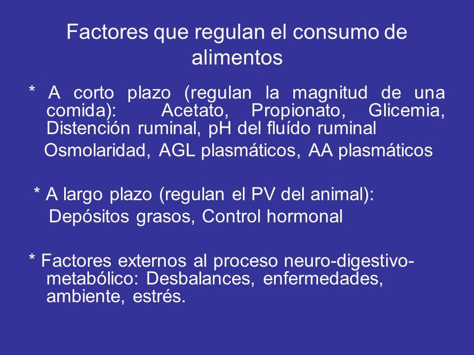 Factores que regulan el consumo de alimentos * A corto plazo (regulan la magnitud de una comida): Acetato, Propionato, Glicemia, Distención ruminal, p