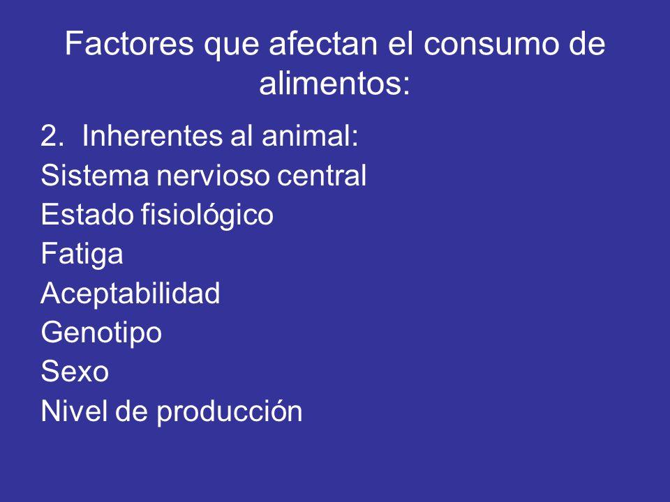 Factores que afectan el consumo de alimentos: 2. Inherentes al animal: Sistema nervioso central Estado fisiológico Fatiga Aceptabilidad Genotipo Sexo